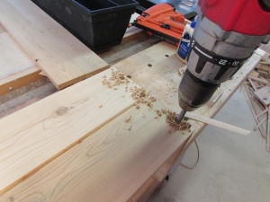 Drilling the holes for the dowels