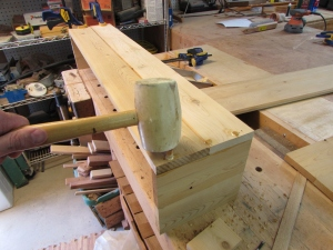Setting the dowels on the bottom
