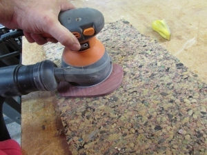 Sanding down the control plate
