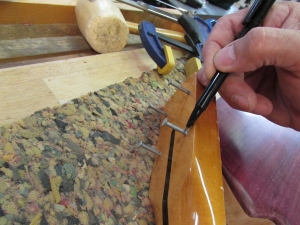 Marking a cut line on the nails