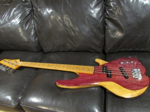 Maple and purpleheart bass guitar
