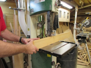 Finishing the cut on the band saw