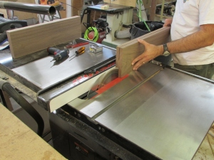 Starting the resaw on the table saw