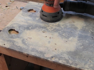 Sanding the buckeye top smooth