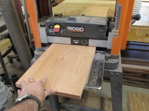 """Planing the flattened board down to 3/4"""""""