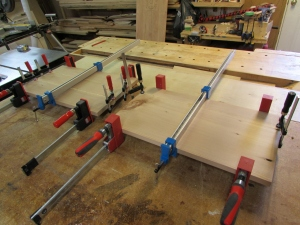 Both panels glued and clamped