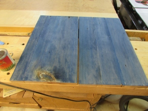 Face sides of the panels dyed blue