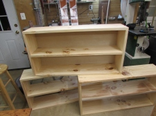 Pine book shelves