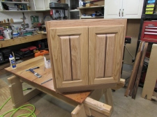 Oak and walnut cabinet